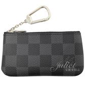Louis Vuitton LV N60155 POCHETTE 黑灰棋盤格紋鑰匙零錢包  全新 現貨【茱麗葉精品】