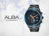 【時間道】SEIKO ALBA 街頭酷流行三眼計時腕錶 /黑面藍框金針黑鋼帶(VD57-X135SD/AM3597X1)免運費