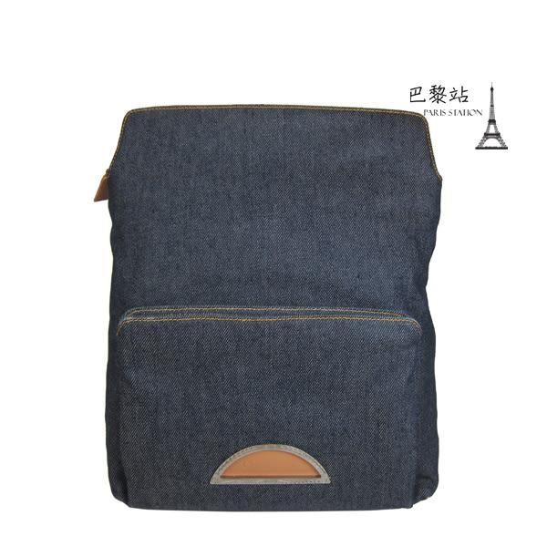 【巴黎站二手名牌專賣店】*現貨*Christian Dior 真品*藍色單寧布皮革背帶後背包