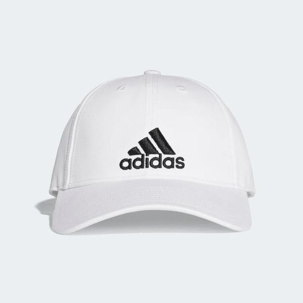 Adidas 經典全白 黑logo 老帽  男女皆可戴 (布魯克林) S98150