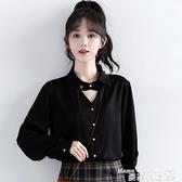 polo衫 2021秋季新款復古港風黑色長袖襯衫女掛脖設計感休閒上衣洋氣襯衣 曼慕