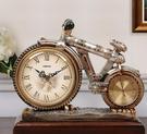 歐式座鐘客廳靜音復古時鐘創意臺鐘裝飾鐘自行車擺件石英鐘表