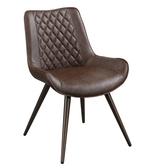 【森可家居】浩司咖啡皮餐椅 8ZX979-2 鐵腳架