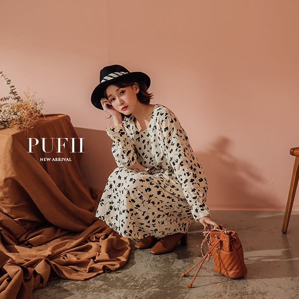現貨 PUFII-洋裝 優雅碎花腰綁帶泡袖雪紡連身裙長洋裝 2色-0927  秋【CP15223】