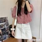短袖襯衫女設計感小眾夏季法式甜美減齡短款上衣方領小個子娃娃衫 時尚芭莎
