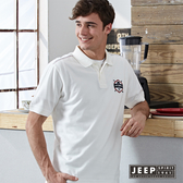 【JEEP】網路限定 清新校園風格徽章刺繡短袖POLO衫 (白色)