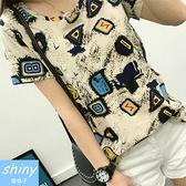 【V0981】shiny藍格子-率性風潮.簡約圓領寬鬆短袖上衣