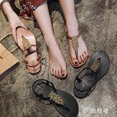夾趾涼鞋 女夏季2019新款度假學生平底夾趾羅馬海邊沙灘鞋 BT2083【旅行者】
