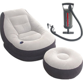 豪華頭等艙充氣沙發附腳椅+手動打氣筒