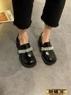 瑪麗珍鞋 單鞋女2021年春季新款網紅百搭學院風大頭小皮鞋粗跟黑色瑪麗珍鞋   【榮耀 新品】