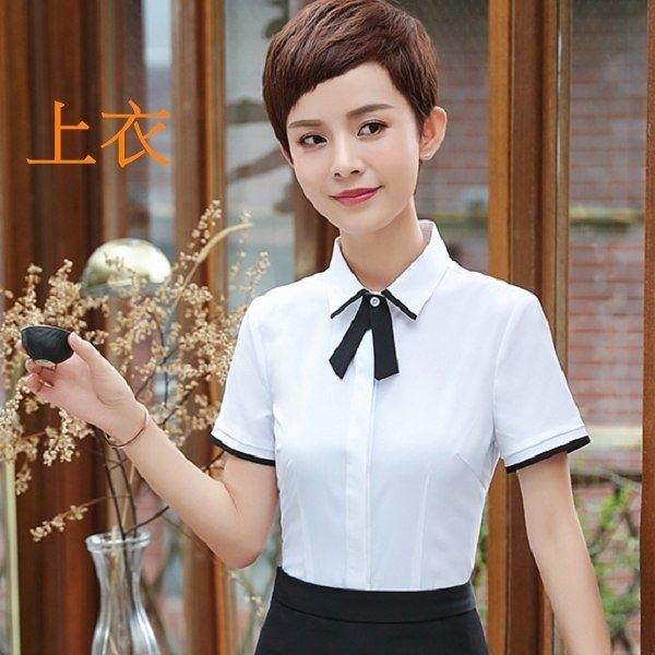 小三衣藏[8Y405-PF]簡潔配色線條氣質領結OL短袖襯衫上衣(附領結)