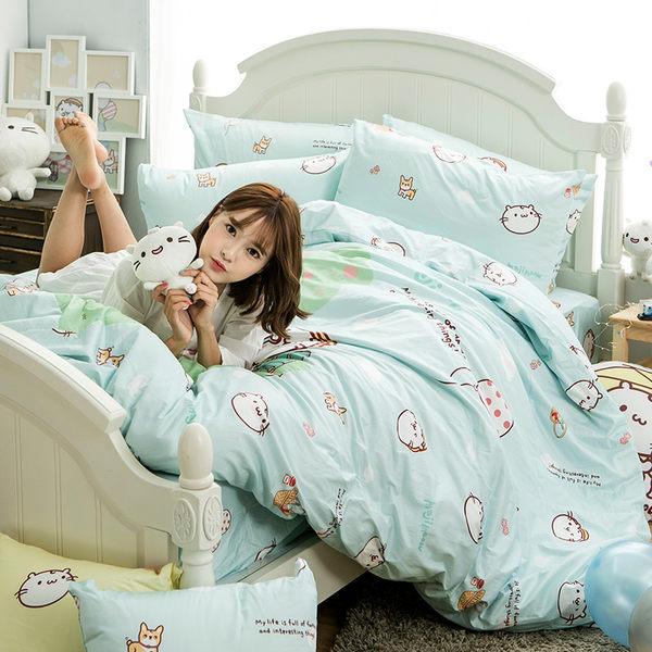 床包 / 單人【麻吉貓野餐派對-兩色可選】含一件枕套  100%精梳棉  戀家小舖台灣製AAL101