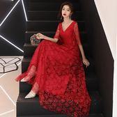 新娘敬酒服款紅色結婚長款高貴優雅秋季訂婚長禮服裙女 DN15336【棉花糖伊人】