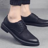 秋季韓版休閑皮鞋男士商務正裝英倫潮鞋黑色內增高布洛克男鞋   koko時裝店