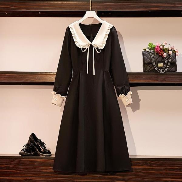 大碼女裝2020秋季新款胖妹妹收腰減齡小黑裙海軍領顯瘦遮胯洋裝 元旦全館免運