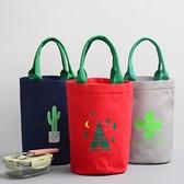 圓形午餐袋保溫桶套飯盒包帶飯手提袋圓筒飯包飯盒袋子帆布便當包 創意新品