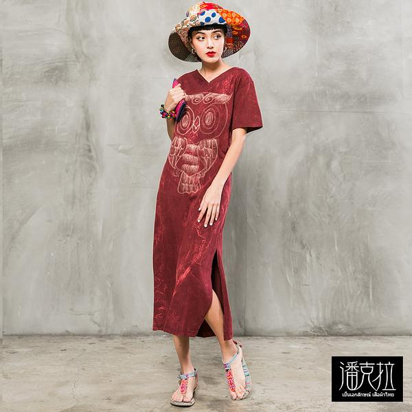 石洗手繪貓頭鷹洋裝(紅色)-F【潘克拉】