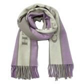 【COACH】新款經典 LOGO條紋配色羊毛圍巾(紫/奶茶)