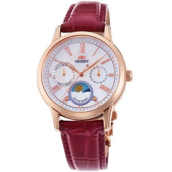 【台南 時代鐘錶 ORIENT】東方錶 RA-KA0001A 典雅羅馬時標日月相時尚腕錶 皮帶 棗紅色 34mm
