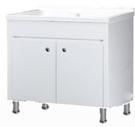 【麗室衛浴】 媽媽的好幫手 實心人造石固定式洗衣檯浴櫃組 P-205  白色  W90*D55CM