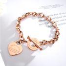 【5折超值價】時尚精美圓圈愛心造型鈦鋼女款手鍊