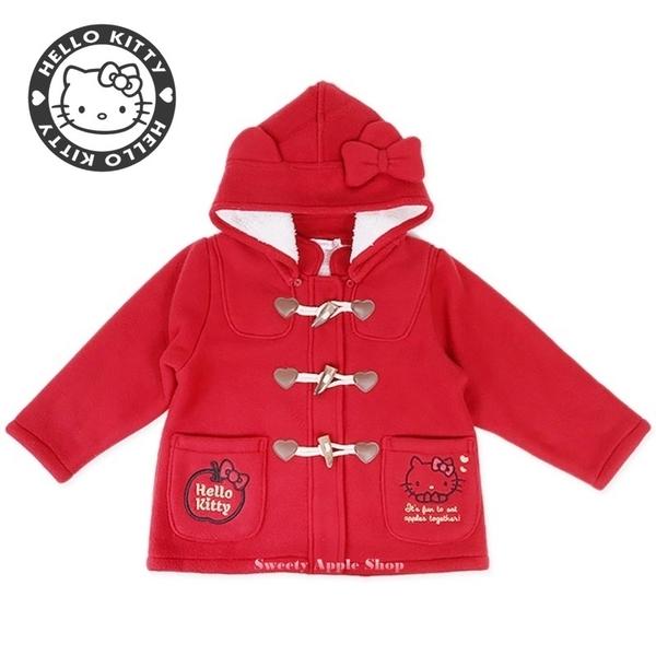 日本限定 三麗鷗 HELLO KITTY 凱蒂貓 連帽牛角排扣外套 兒童 130 (紅色款)
