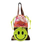 LOEWE 羅威 Smiley笑臉系列粉橘色尼龍材質花卉造型x紅棕色人魚造型手提斜背兩用包