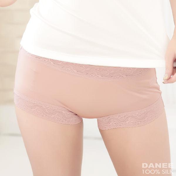 【岱妮蠶絲】AA2309E-L純蠶絲42針70G古典美蕾絲中高腰平口內褲(珠粉)