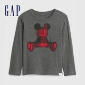 Gap男幼童 Gap x Disney 迪士尼創意刺繡圓領長袖T恤 617764-深灰色