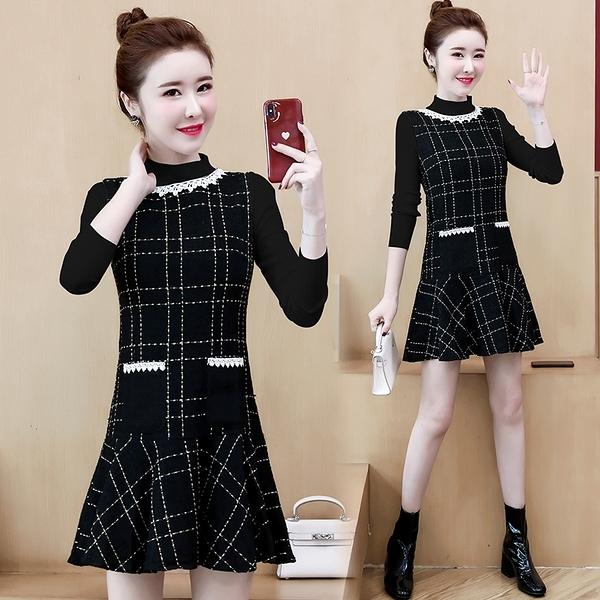 S-2XL 法式小香風連身裙女秋冬時髦打底裙兩件套小個子氣質高腰套裝裙9809 NC11-A 依品國際