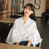 春夏新款韓版學院風寬鬆顯瘦V領金屬配飾燈籠袖上衣純色白襯衣女