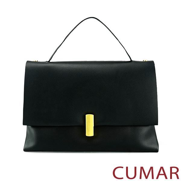 CUMAR 牛皮轉鎖手提兩用小方包-經典黑色