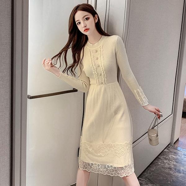 VK旗艦店 韓系名媛蕾絲網紗拼接針織修身氣質長袖洋裝