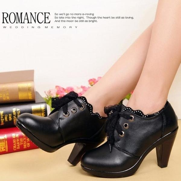 高跟鞋女 粗跟高跟鞋 秋冬新款高跟加絨單鞋女蕾絲系帶職業深口女鞋子皮鞋《小師妹》sm2465