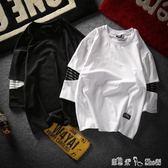 日系7七分袖打底衫T恤男士寬鬆學生短袖韓版個性潮流半袖中袖上衣 「潔思米」