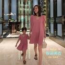親子洋裝 女童親子裝夏季洋氣網紅母女裝氣質V領純色泡泡袖洋裝子