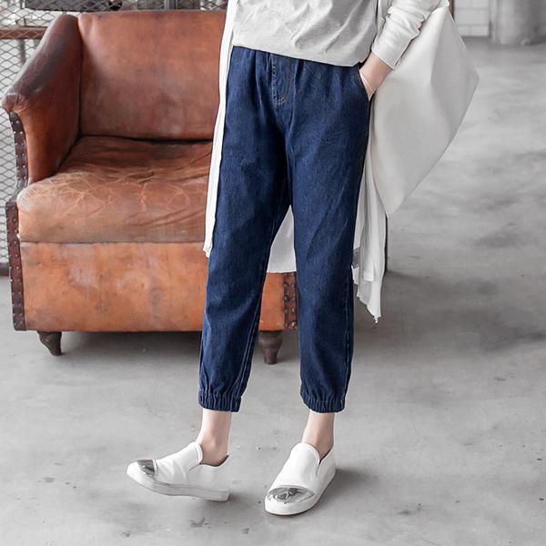 OB嚴選《BA2134-》褲管縮口舒適鬆緊腰頭牛仔褲--適 S~XL