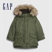 Gap男幼童 保暖刷毛仿毛邊連帽外套 593054-綠色