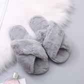 毛毛棉拖鞋女2020春秋新款女式月子平底居家室內外穿交叉毛絨棉拖