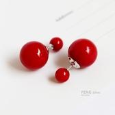 s925純銀紅色珍珠雙面耳釘耳環韓國氣質簡約前後大小耳飾女