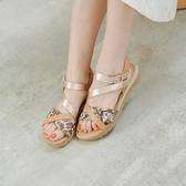 德國 GABOR 蛇紋條帶麻跟涼鞋 棕 42.743.55 女鞋
