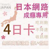 (插卡即用) 4天日本上網中毒者專用高速4G不降速吃到飽方案/日本網卡吃到飽/日本網路卡