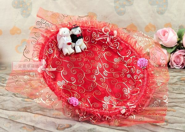 一定要幸福哦~~幸福對熊煙盤、喜糖盤(紅色) ~ 婚禮小物、喜糖盤、結婚宴客