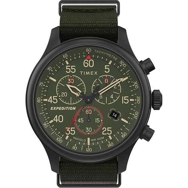 【TIMEX】 天美時 遠征系列 三眼計時手錶 (綠/黑 TXTW2T72800)
