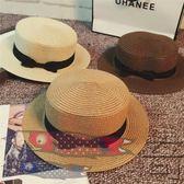 韓版草帽英倫平頂小禮帽遮陽沙灘帽