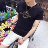 短袖T恤 夏季男圓領修身印花上衣夏裝男裝《印象精品》t24