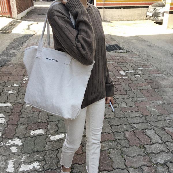 (X-662)韓國大容量極簡風字母單肩帆布包簡約手提女包純色托特包大包