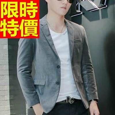 西裝外套  男韓版 西服 質感修身-金絲絨英倫風大氣率性65b47【巴黎精品】