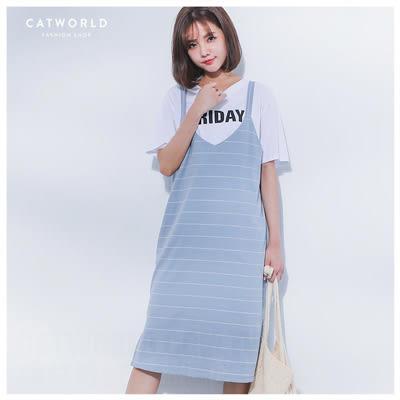 Catworld 正韓空運*側開衩坑條橫線針織背心裙【13002027】‧F