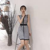 $299出清專區 韓國風氣質圓領拼色菱格背心裙針織套裝無袖裙裝